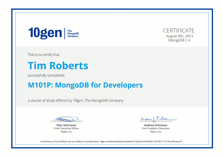 MongoDB for Developers Certificate